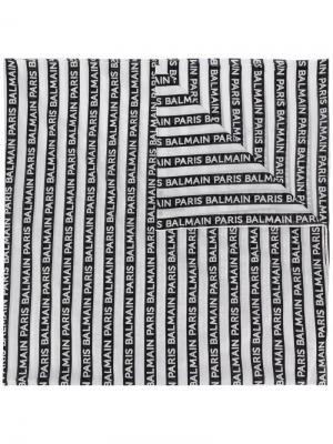 Платок с принтом логотипа Balmain. Цвет: черный
