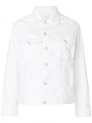 Рваная джинсовая куртка с застежкой на пуговицы Dondup. Цвет: белый