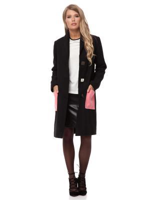 Пальто Gloss. Цвет: черный, розовый