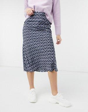 Фиолетовая юбка миди с мелким цветочным принтом -Фиолетовый цвет Glamorous