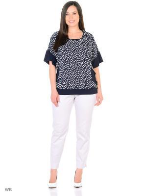 Блузка AMAZONE. Цвет: белый, синий