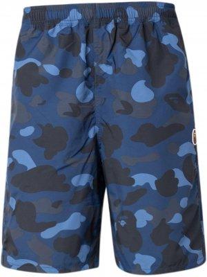 Пляжные шорты с камуфляжным принтом A BATHING APE®. Цвет: синий