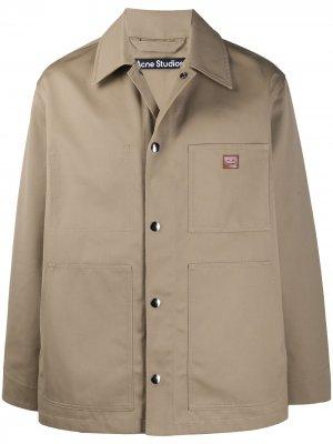 Куртка-рубашка с нашивкой Face Acne Studios. Цвет: нейтральные цвета