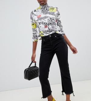 Выбеленные черные укороченные расклешенные джинсы с необработанным краем ASOS DESIGN Petite Egerton-Черный