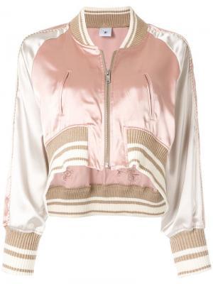 Укороченная куртка-бомбер с вышивкой Maison Mihara Yasuhiro. Цвет: розовый