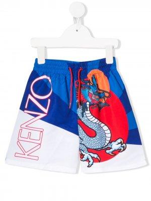 Плавки с принтом Kenzo Kids. Цвет: синий