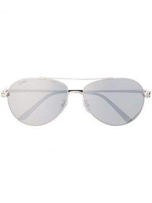 Солнцезащитные очки-авиаторы CT0233S Panther Cartier Eyewear. Цвет: серебристый