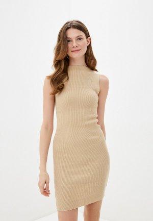 Платье Ksi. Цвет: бежевый