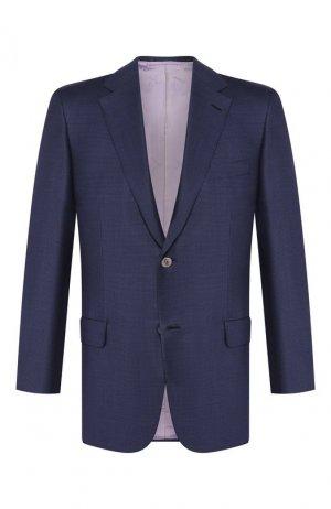 Шерстяной пиджак Brioni. Цвет: синий