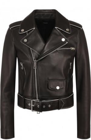 Укороченная кожаная куртка с косой молнией Theory. Цвет: черный