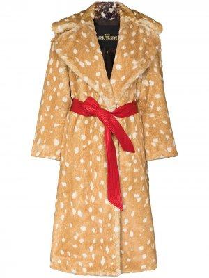 Пальто с поясом и анималистичным принтом Marc Jacobs. Цвет: коричневый