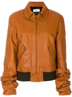 Свободная куртка-бомбер Saint Laurent. Цвет: коричневый