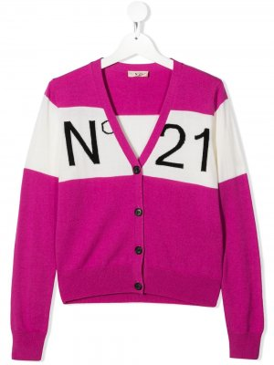 Кардиган в стиле колор-блок с логотипом Nº21 Kids. Цвет: розовый