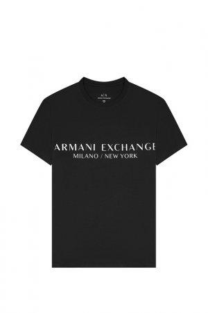 Футболка ARMANI EXCHANGE. Цвет: черный