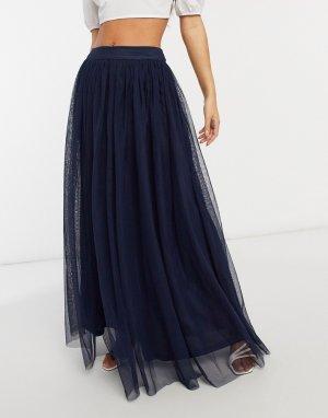 Юбка макси темно-синего цвета из тюля -Темно-синий Lace & Beads