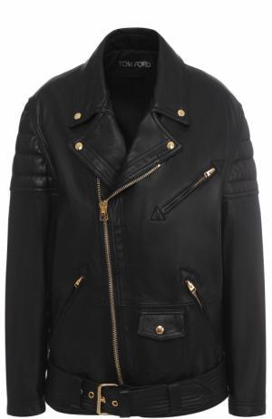 Кожаная куртка свободного кроя с косой молнией Tom Ford. Цвет: черный
