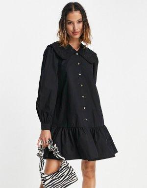 Черное платье с присборенной юбкой и большим воротником -Черный цвет Vila