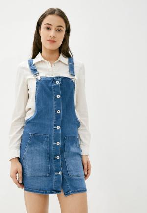 Платье джинсовое G&G. Цвет: синий