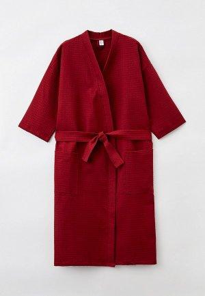 Халат домашний Bio-Textiles. Цвет: бордовый