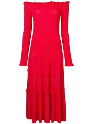 Платье макси с открытыми плечами Altuzarra. Цвет: красный