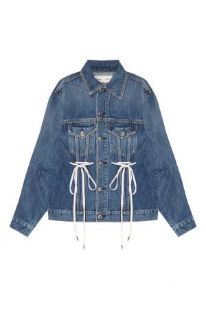 Джинсовая куртка с завязками Proenza Schouler. Цвет: синий