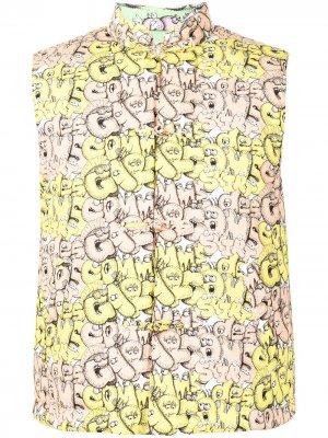 Дутый жилет с логотипом Comme Des Garçons Shirt. Цвет: желтый