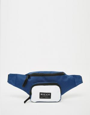 Сумка-кошелек на пояс в стиле колор блок Nicce London. Цвет: синий