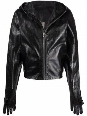 Байкерская куртка с капюшоном Rick Owens. Цвет: черный