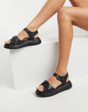 Черные кожаные сандалии на массивной подошве Nora-Черный цвет Fiorelli