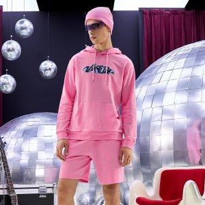 Мужской с текстовым принтом карманом на кулиске Толстовка & Шорты SHEIN. Цвет: розовые