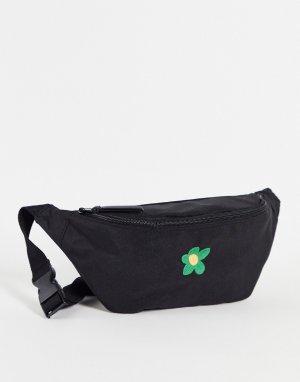 Черная сумка-кошелек через плечо с цветочной вышивкой -Черный цвет ASOS DESIGN