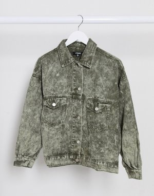 Мраморная джинсовая oversized-куртка цвета хаки в стиле 80-х -Зеленый Missguided