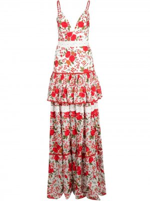 Платье макси Naomi с вышивкой Alexis. Цвет: белый
