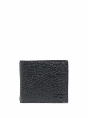 Фактурный кошелек с логотипом FF Fendi. Цвет: черный