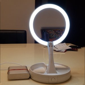 Зеркало для макияжа с лампой 5V SHEIN. Цвет: белые