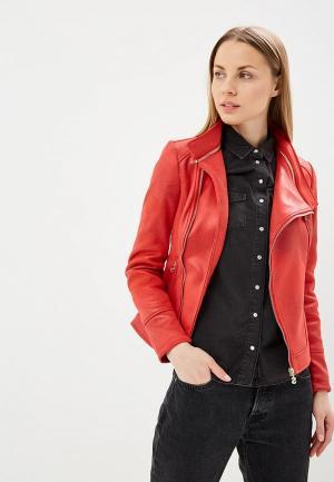 Куртка кожаная Desigual. Цвет: красный