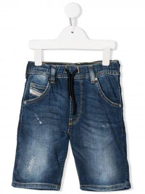 Джинсовые шорты с поясом на шнурке Diesel Kids. Цвет: синий