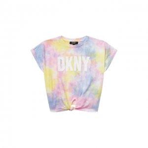 Хлопковая футболка DKNY. Цвет: разноцветный