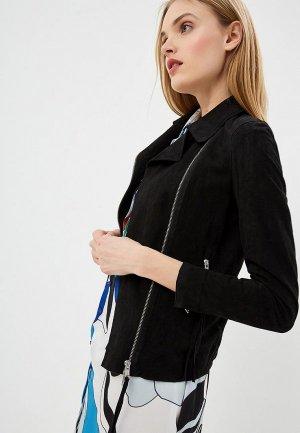 Куртка кожаная Blouson CHIODO SUEDE. Цвет: черный
