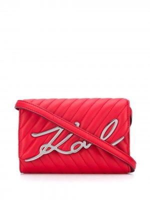 Сумка через плечо с логотипом Karl Lagerfeld. Цвет: красный