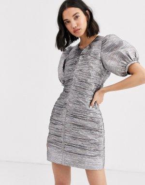 Платье мини с эффектом металлик и рукавами-фонариками 2ND DAY Edition Dandy-Серебристый