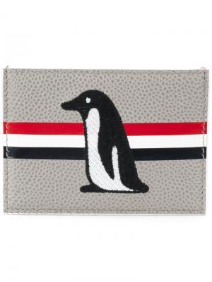 Визитница с вышивкой пингвина Thom Browne. Цвет: зелёный