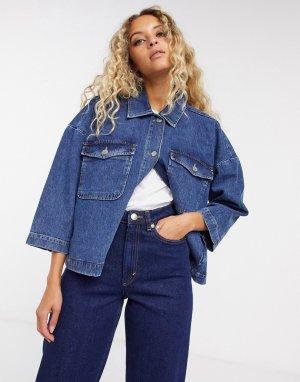Темная джинсовая куртка Femme-Синий Selected