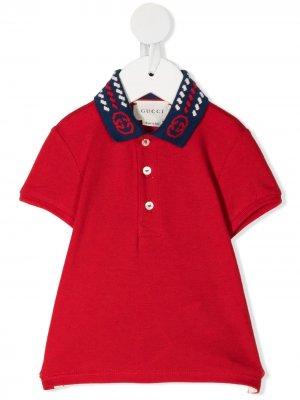 Рубашка поло с контрастным воротником Gucci Kids. Цвет: красный