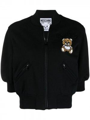 Укороченный бомбер Teddy Bear Moschino. Цвет: черный