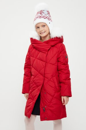 Пальто для девочки Finn-Flare. Цвет: красный