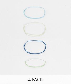 Набор узких веревочных браслетов толщиной 1 мм темно-синего, голубого, серого и синего цветов -Многоцветный ASOS DESIGN
