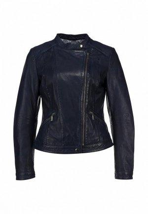 Куртка кожаная Naf NA018EWBQV65. Цвет: синий