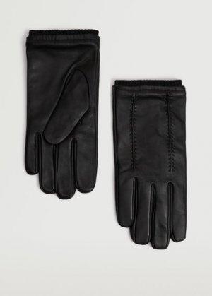 Полушерстяные перчатки с кожаными вставками - Piping Mango. Цвет: черный