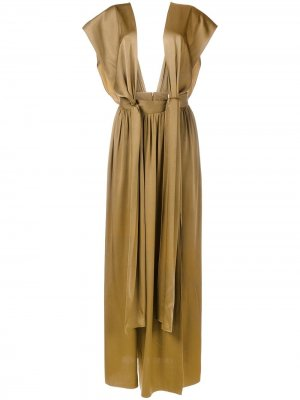 Длинное драпированное платье LANVIN. Цвет: зеленый